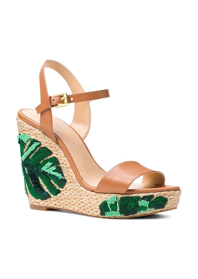 4823e3f9633 MICHAEL Michael Kors Women s Jill Beaded Leather Platform Wedge Sandals -  100% Exclusive
