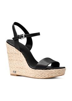 MICHAEL Michael Kors Women's Jill Leather Espadrille Wedge Sandals
