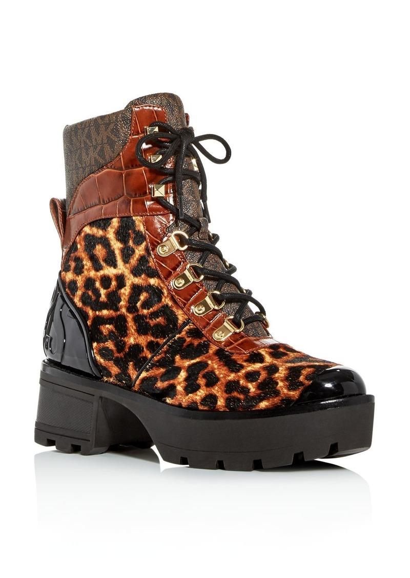 MICHAEL Michael Kors Women's Khloe Calf Hair Combat Boots