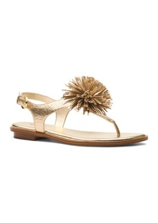 MICHAEL Michael Kors Women's Lolita Leather Pom-Pom Thong Sandals