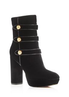 MICHAEL Michael Kors Women's Maisie Velvet High Block Heel Platform Booties