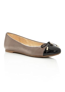 MICHAEL Michael Kors Women's Melody Leather & Patent Leather Cap Toe Ballet Flats