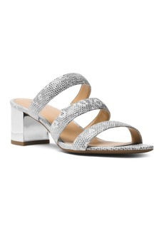 MICHAEL Michael Kors Women's Paloma Embossed Leather Flex Slide Sandals
