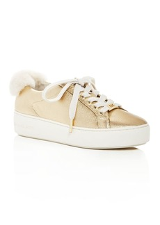 MICHAEL Michael Kors Women's Poppy Leather & Shearling Cuff Platform Lace Up Sneakers