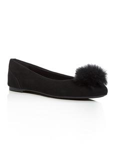 MICHAEL Michael Kors Women's Remi Rabbit Fur Pom-Pom Suede Ballet Flats