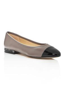 MICHAEL Michael Kors Women's Sabrina Leather & Patent Leather Cap Toe Flats
