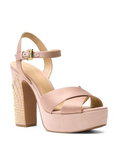 MICHAEL Michael Kors Women's Sia Studded Suede & Satin Platform Sandals