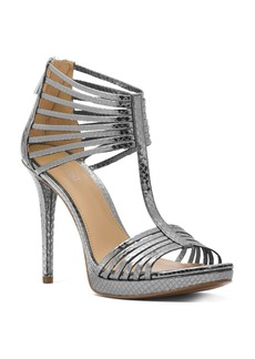 MICHAEL Michael Kors Women's Snake-Embossed Leather T-Strap High-Heel Sandals