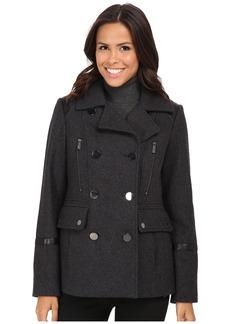 MICHAEL Michael Kors Wool Peacoat w/ Faux Leather