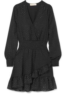 Wrap-effect ruffled fil coupé georgette mini dress