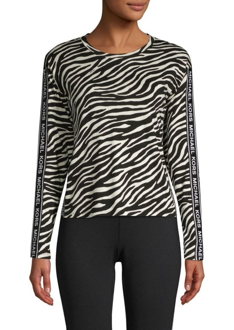 MICHAEL Michael Kors Zebra-Print Cotton-Blend Top