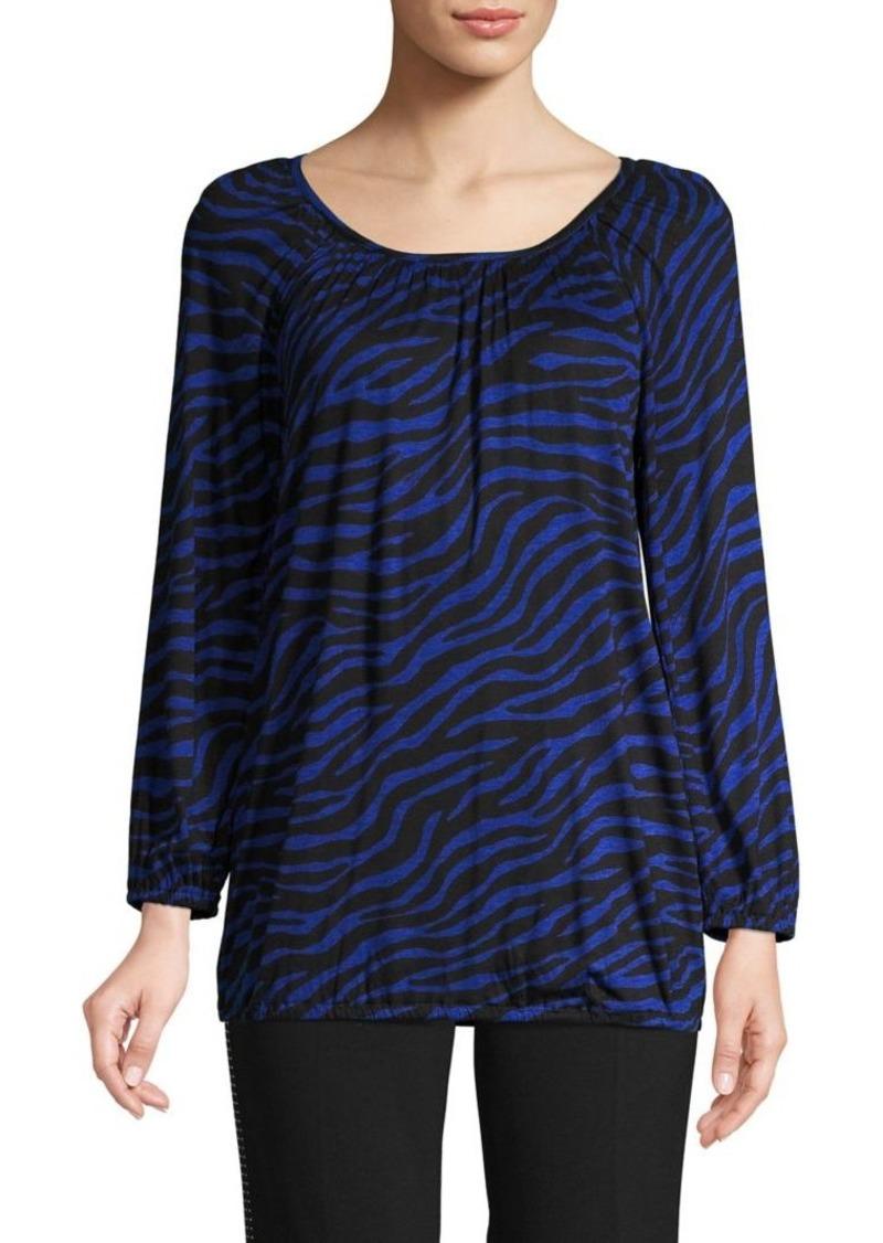 MICHAEL Michael Kors Zebra-Print Long-Sleeve Top