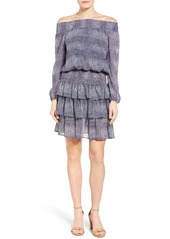 MICHAEL Michael Kors Zephyr Print Chiffon Smocked Off the Shoulder Dress