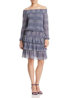 MICHAEL Michael Kors Zephyr Snake Print Off-the-Shoulder Dress