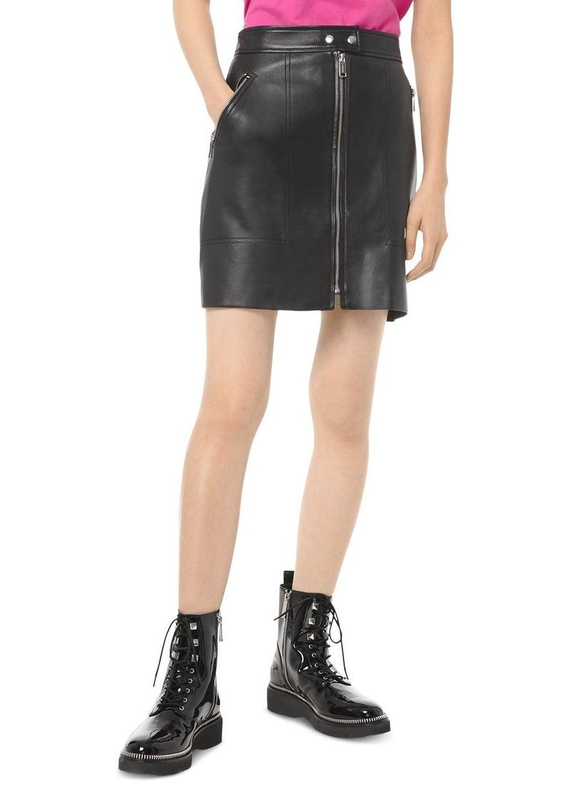 MICHAEL Michael Kors Zip-Front Leather Mini Skirt