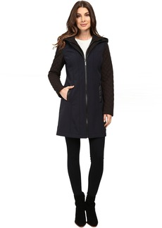 Zip Front Softshell with Hood and Quilted Sleeves M522320T