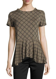 MICHAEL Michael Kors Zip-Shoulder Graphic-Print Peplum Top