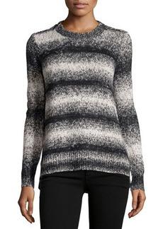 MICHAEL Michael Kors Zip-Shoulder Striped Knit Sweater