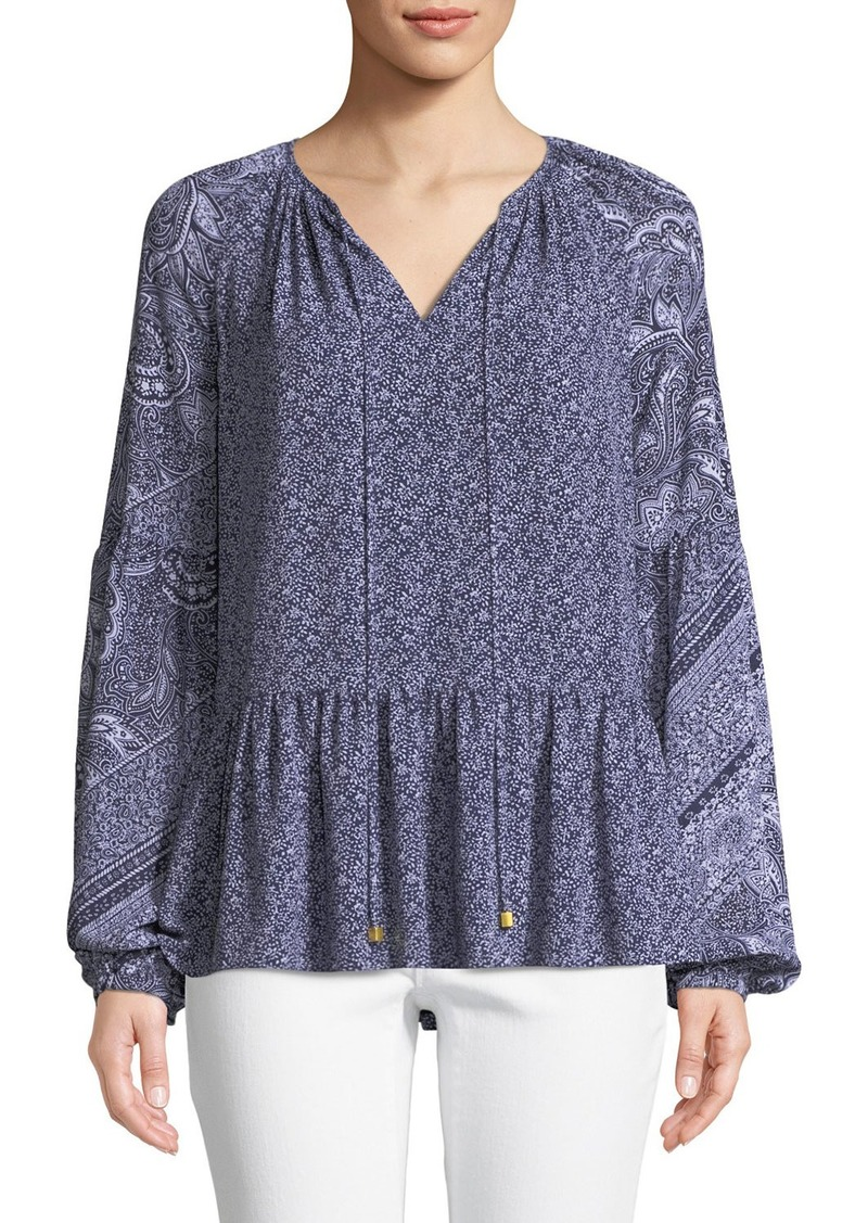 MICHAEL Michael Kors Micro Floral Mix-Print Split-Neck Long-Sleeve Top