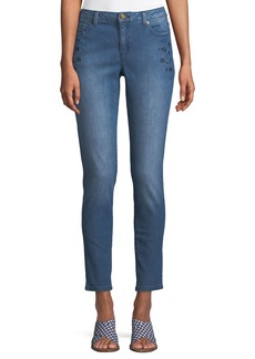 MICHAEL Michael Kors Mid-Rise Floral-Embroidered Skinny Jeans