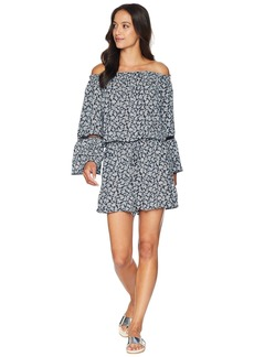 MICHAEL Michael Kors Mini Cherry Blossoms Off the Shoulder Romper Cover-Up w/ Inset Ladder Trim
