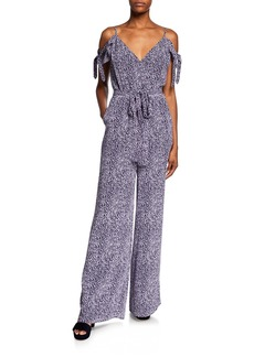 MICHAEL Michael Kors Mini Ikat Spot Cold-Shoulder Tie-Sleeve Jumpsuit with Belt