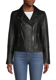 MICHAEL Michael Kors Missy Asymmetrical Zip Leather Moto Jacket