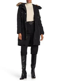 MICHAEL Michael Kors Missy Snap Front Faux Fur Trim Jacket