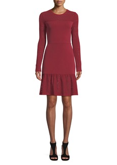 MICHAEL Michael Kors Mixed-Media Dress w/ Sheer Yoke & Sleeves
