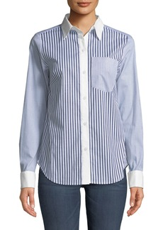 MICHAEL Michael Kors Mixed-Stripe French-Cuff Blouse