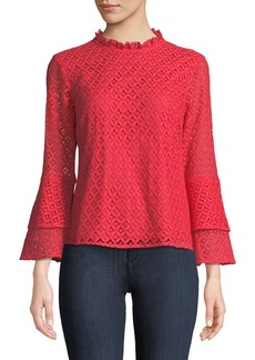 MICHAEL Michael Kors Mock-Neck Lace Tiered Bell-Sleeve Blouse
