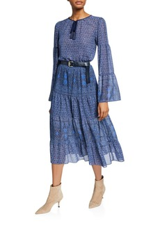 MICHAEL Michael Kors Monaco Tile Bell-Sleeve Belted Midi Dress
