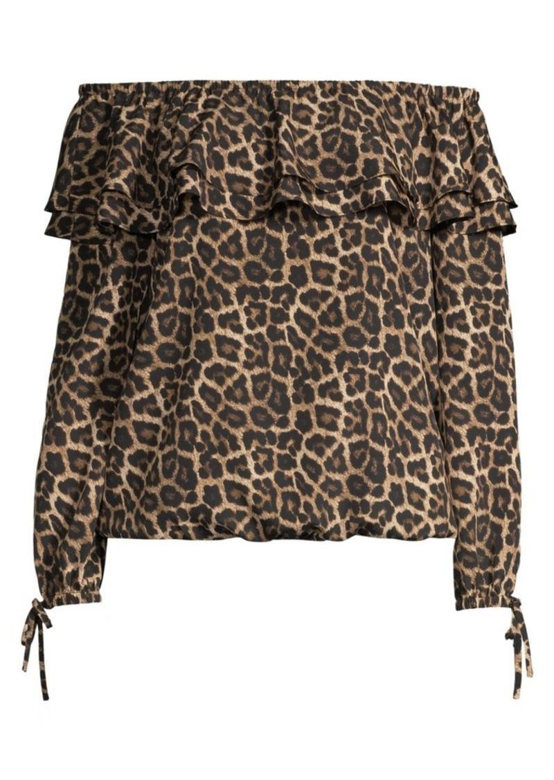 MICHAEL Michael Kors Off-The-Shoulder Leopard-Print Top