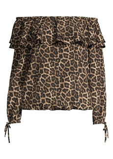MICHAEL Michael Kors Off-The-Shoulder Leopard-Print Top