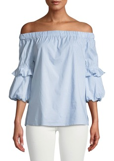 MICHAEL Michael Kors Off-The-Shoulder Striped Balloon-Sleeve Blouse
