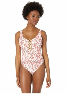 MICHAEL Michael Kors Over the Shoulder One-Piece with Chain Rings Removeable Soft Cups