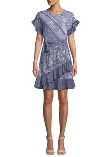 MICHAEL Michael Kors Paisley Mix-Print Short-Sleeve Tie-Waist Dress w/ Ruffle Trim