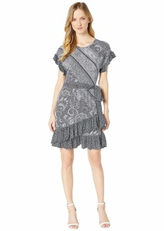 MICHAEL Michael Kors Paisley Mix Ruffle Wrap Dress