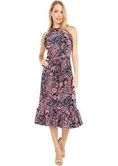 MICHAEL Michael Kors Paisley Ruffle Neck Midi Dress