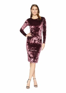 MICHAEL Michael Kors Panne Velvet Crew Long Sleeve Dress