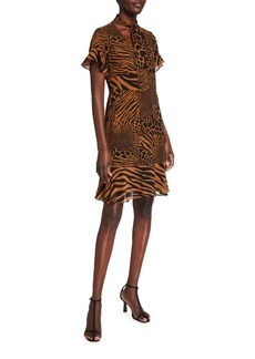 MICHAEL Michael Kors Patchwork Animal-Print Tie-Neck Dress