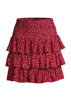 MICHAEL Michael Kors Petal-Print Ruffle Tier Skirt