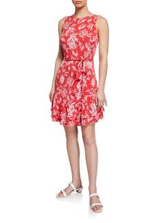 MICHAEL Michael Kors Petani Coral-Print Ruffle-Hem Tank Dress