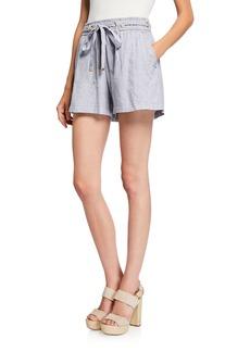 MICHAEL Michael Kors Pinstripe Grommet Tie-Waist Shorts
