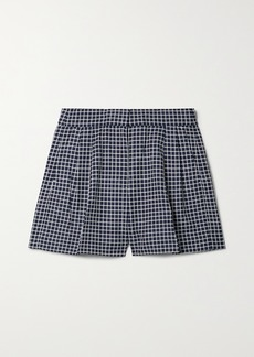 MICHAEL Michael Kors Pleated Checked Cotton-blend Shorts