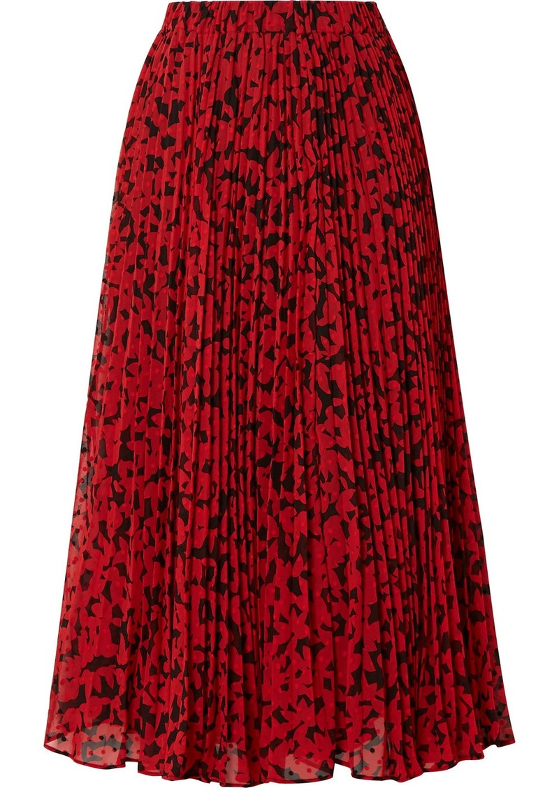 MICHAEL Michael Kors Pleated Printed Fil Coupé Georgette Midi Skirt
