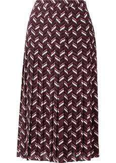 MICHAEL Michael Kors Pleated Printed Georgette Midi Skirt