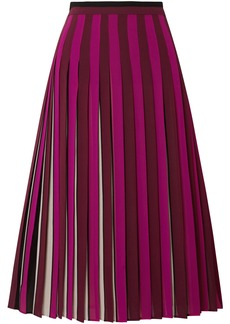 MICHAEL Michael Kors Pleated Striped Crepe Midi Skirt