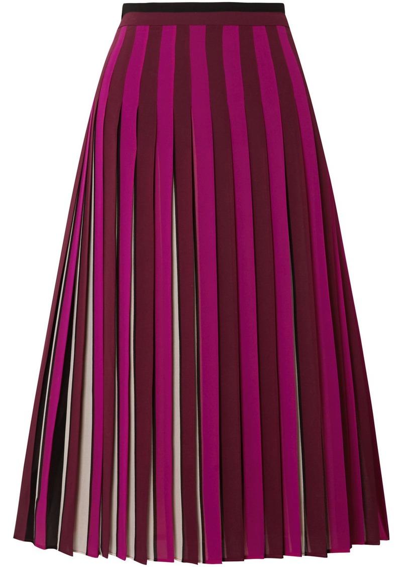 MICHAEL Michael Kors Pleated Striped Crepe Midi Skirt