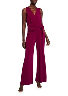 MICHAEL Michael Kors Pleated Wrap Overlay Jumpsuit